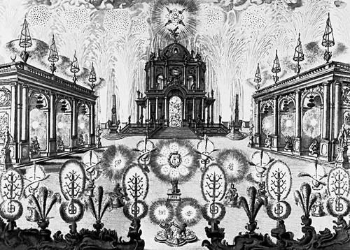 Гравюра неизвестного автора Фейерверк Россия, 18 век