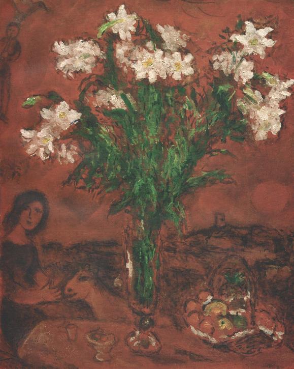 1 Марк Шагал Белые цветы на красном фоне 1970