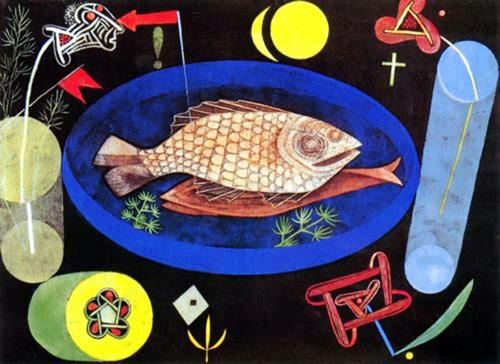 12 Василий Кндинский рыба на голубой тарелке