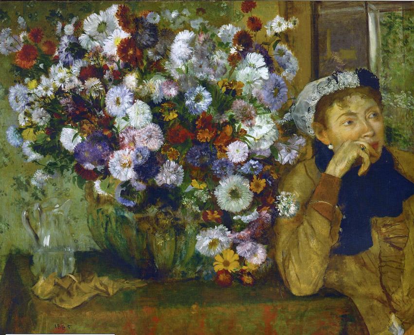 ДЕГА 1865 Женщина сидящая у вазы с цветами