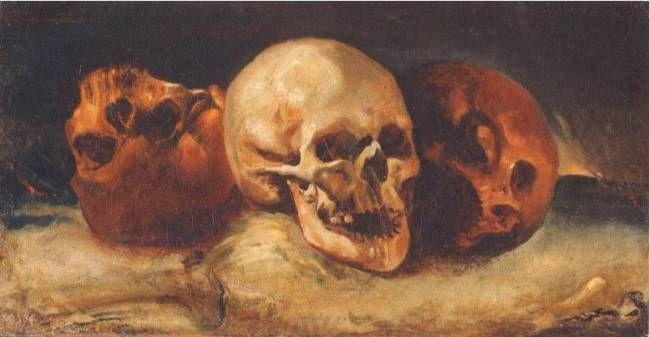 Жерико Натюрморт с тремя черепами