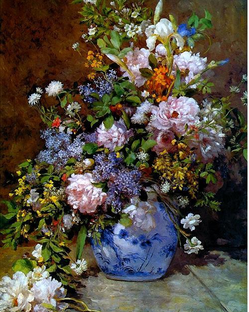 Огюст Ренуар Натюрморт с большой цветочной вазой 1866