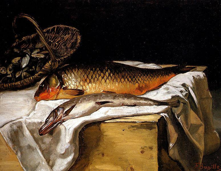 Фредерик Базиль натюрморт с рыбой 1866