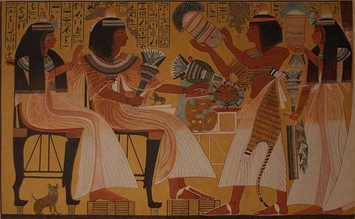 3Знатный Египтянин с женой на банкете