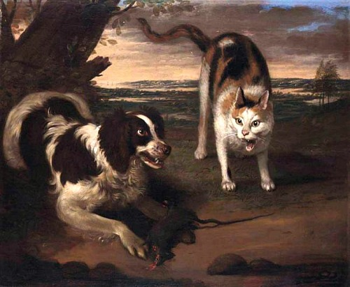 Адриан Корнелис Билдемекер Landscape with a Dog and Cat Fighting  r 17th c