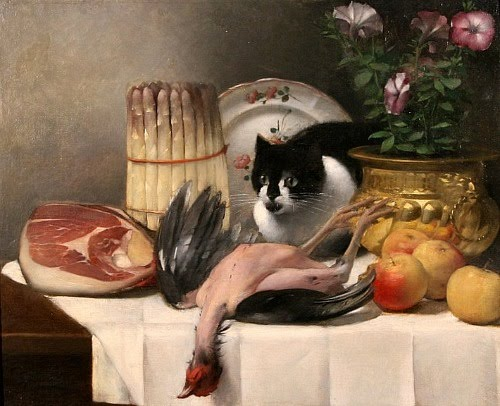 Гуамо Фолачче 1827-1895)  Still Life with Cat 19th century