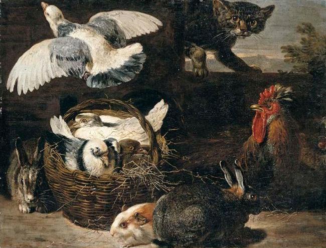 Давид де Коннинг A STILL LIFE OF PIGEONS