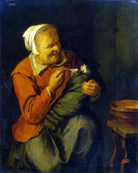 Девид Рейкард млад Peasant Woman with a Cat