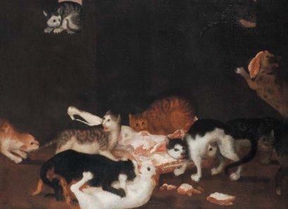 Феличе Бозелли 17 век. Натюрморт с котами