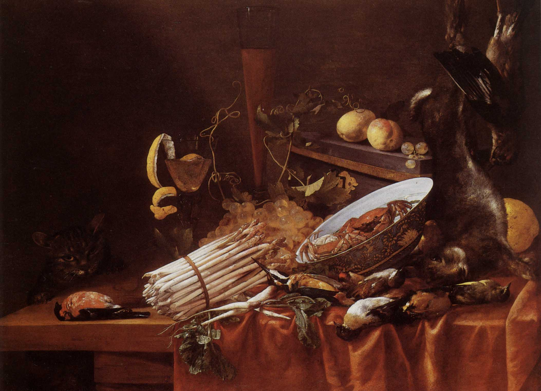 1352937666-1640-1680-cerstiaen-luyckx-gibier-g-poil-et-g-plumes-crustacgs-fruits-et-asperges-avec-un-chat-64.2x82.5-cm