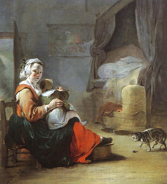 Mother-and-Child-with-Cat-Jan-Baptiste-Weenix