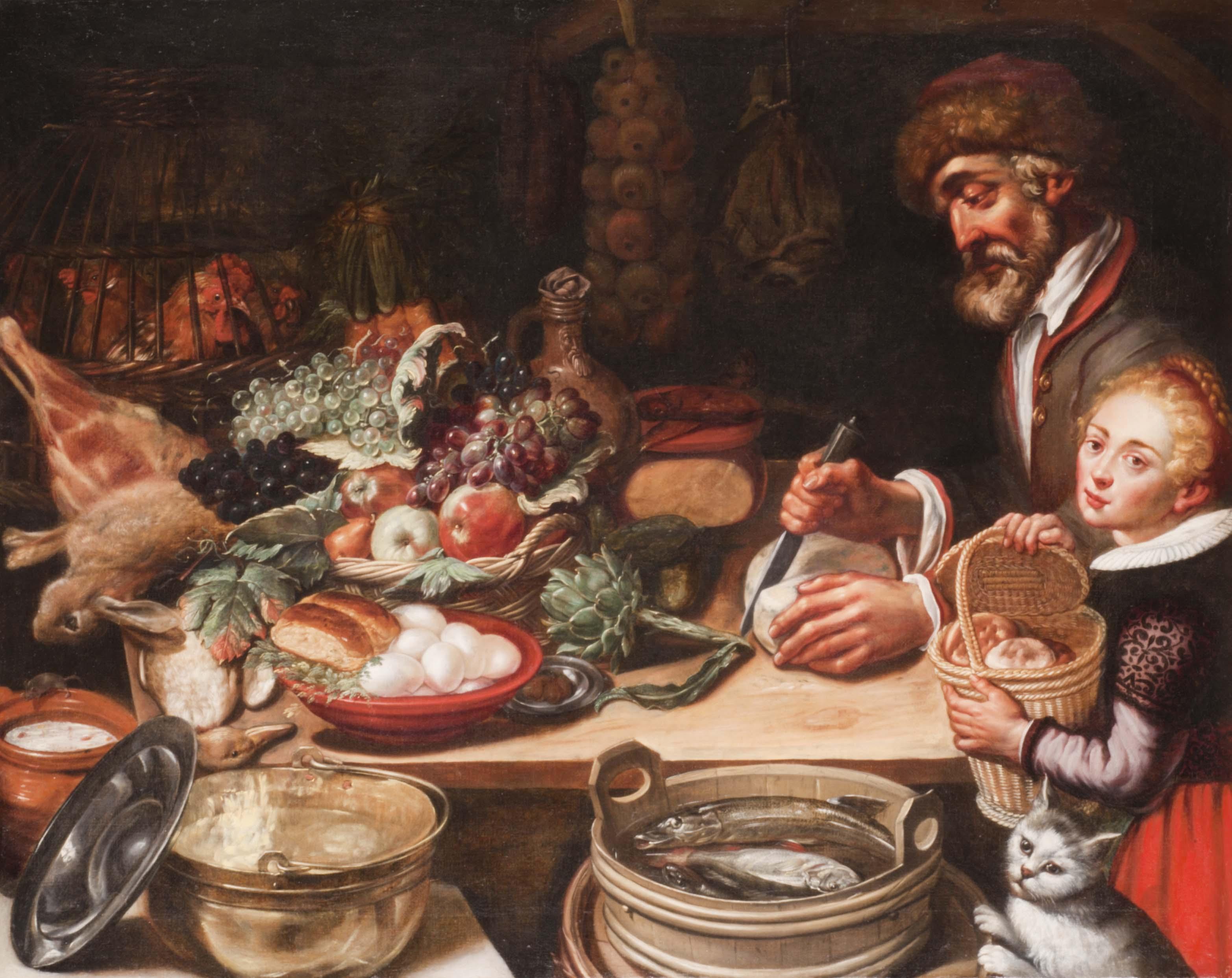 Pieter-Cornelisz-van-Rijck-La-Cucina-del-Contadino-olio-su-tela-1615-ca.