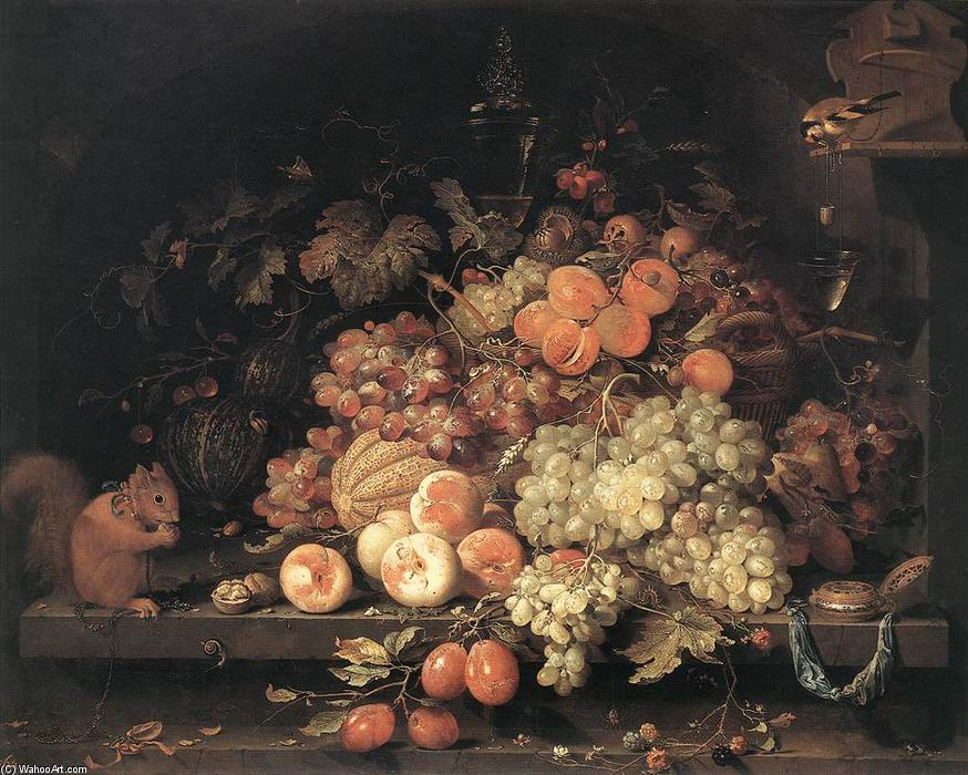 Abraham-Mignon-abraham-Minjon-Fruit-Still-Life-with-Squirrel-and-Goldfinch