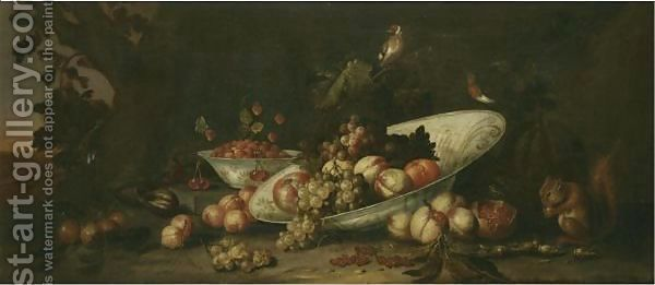 A-Still-Life-Of-Fruit-Including-Grapes,-Peaches-And-An-Orange-In-A-Tilted-Porcelain-Dish