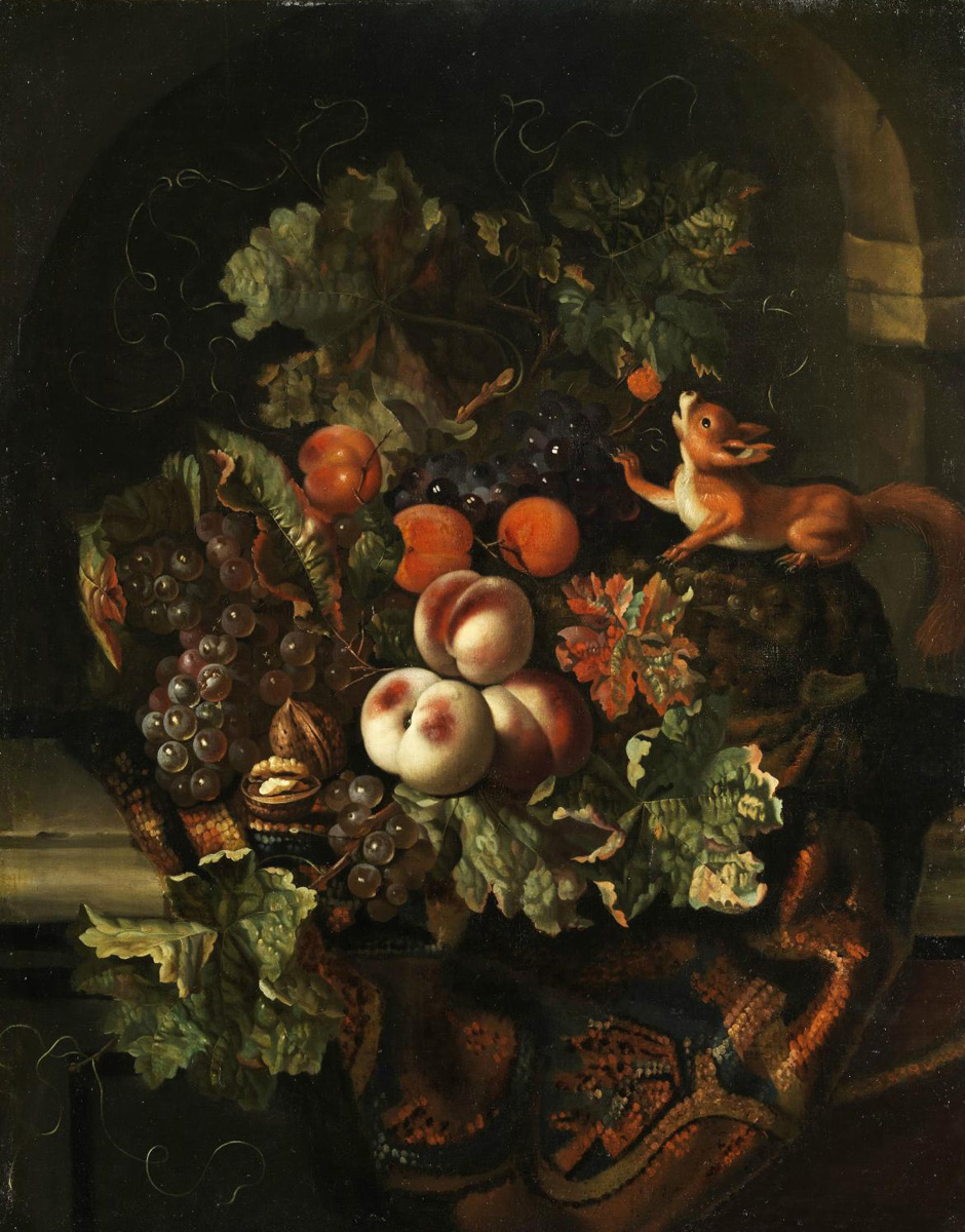 Ernst_Stuven-Still_life_with_fruit_ans_squirrel