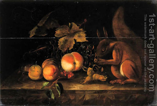 Grapes,-Peaches,-Red-Currants-And-Hazelnuts-With-A-Squirrel-On-A-Ledge