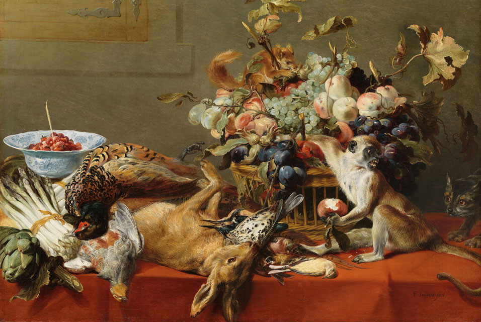 still-life-with-fruit-dead-game-vegetables-a-live-monkey-squirrel-and-cat