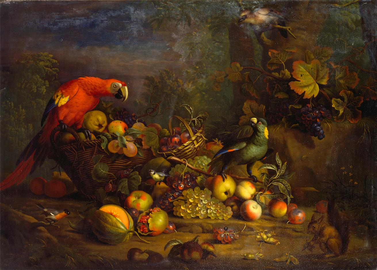 Tobias_Stranover_-_Parrots_and_Fruit_with_Other_Birds_and_a_Squirrel_-_Google_Art_Project