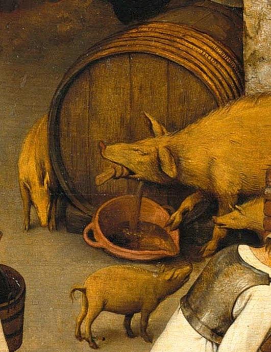 15. Свинья вытаскивает затычку из бочки