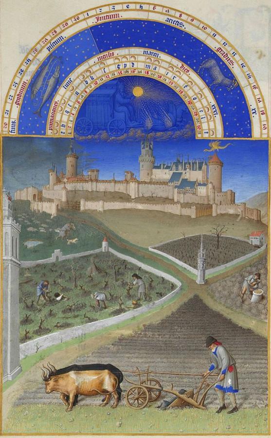 01 Голландские крестьяне Лимбургские братья, миниатюра, кон 14 века