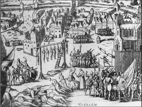 12vЗверства Испанцев в Харлеме в 1573 году Гравюра 1583