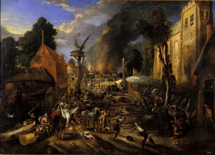 15 Нападение испанцев на фламандскую деревню Peter_Snayers