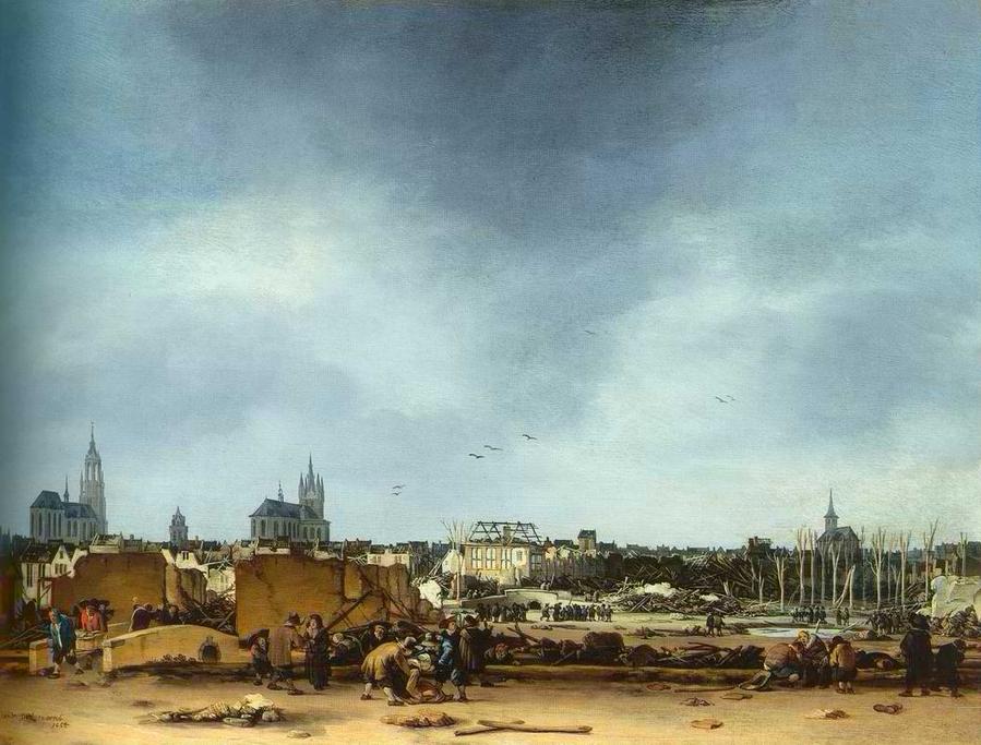 22 Вид Дельфта после взрыва арсенала в 17 веке Эгберг ван дер Поел