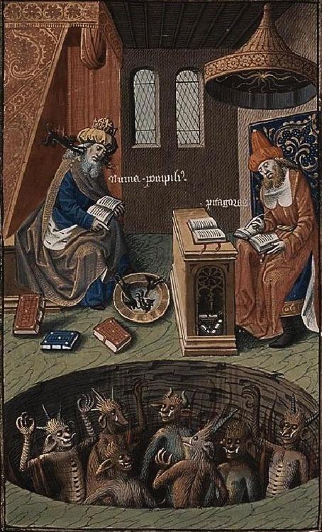 18 Пифагор и Порфирий Нун вызывают дьявола посредством гидромантии 1490-е, Франция