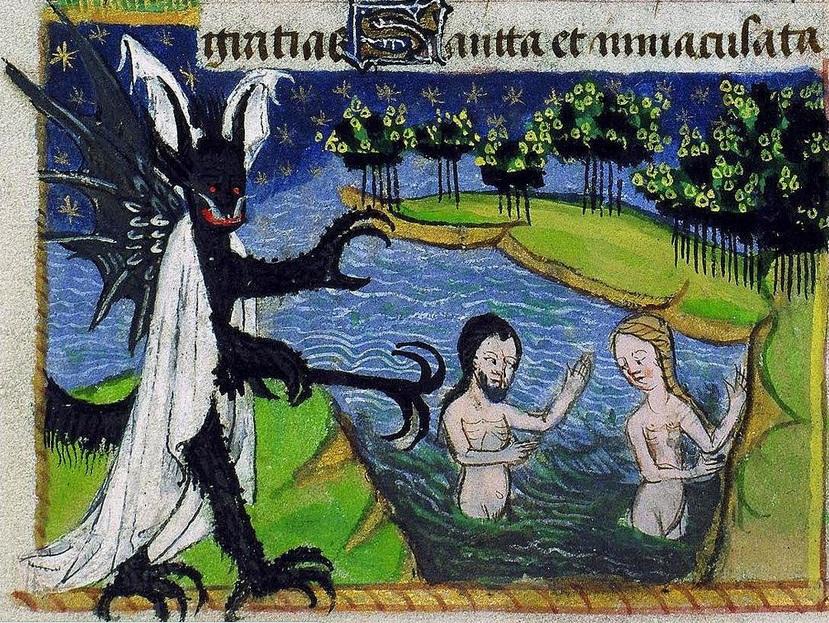 5 Адам и Ева каются в Иордани после изгнания и внось искушаемы дьяволом Франция 15 век