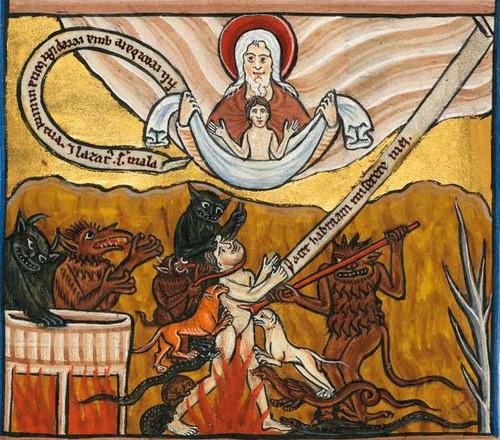 14 Лазарь и богач Мюнхенский Золотой псалтырь нач 13 века