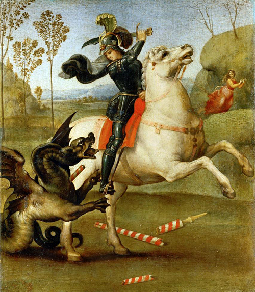 Св. Горги и дракон 1504 Рафаэль