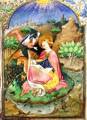 Св. Иоанн и дьявол пытающийся стащить чернильницу