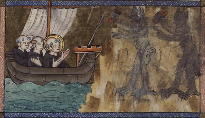 Св. Брендан приближается к острову дьявола