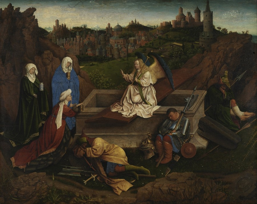 1410-20 Hubert_van_Eyck_or_Jan_van_Eyck_or_both_-_The_Three_Marys_at_the_Tomb_-_Google_Art_Project