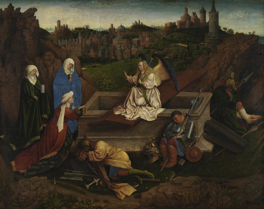 1410-20 Hubert_van_Eyck_or_Jan_van_Eyck_or_both_-_The_Three_Marys_at_the_Tomb_-_Google_Art_Project
