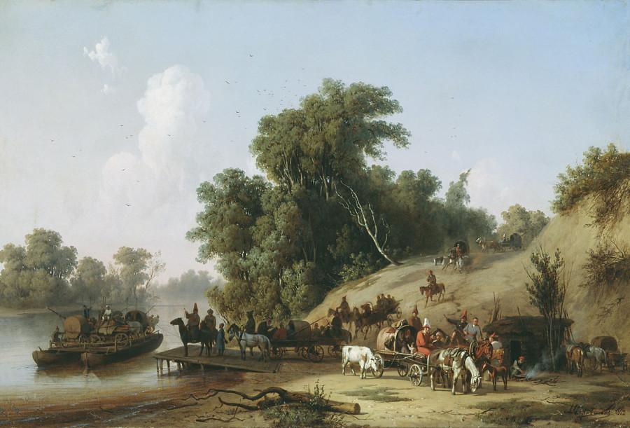 Переправа на Пароме Алексей Чернышев 1852