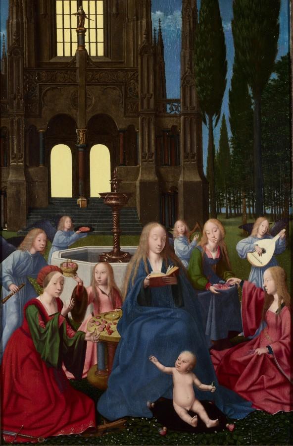 Триптих 'Мадонна с младенцем, святыми и ангелами в саду' (Лондон, Нац.галерея)3