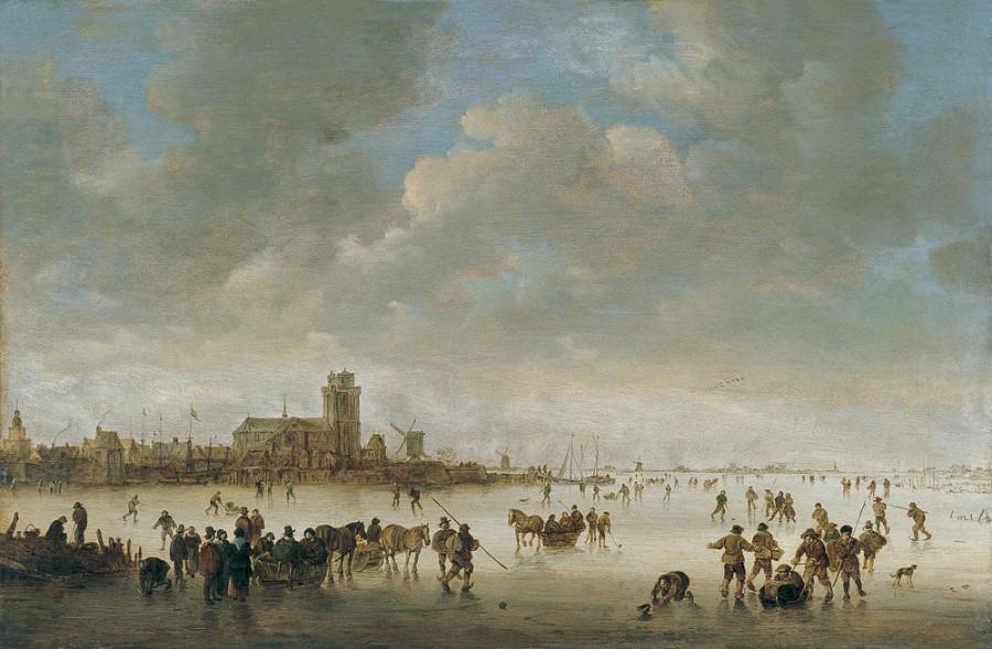 Paisaje invernal con figuras en el hielo 1643