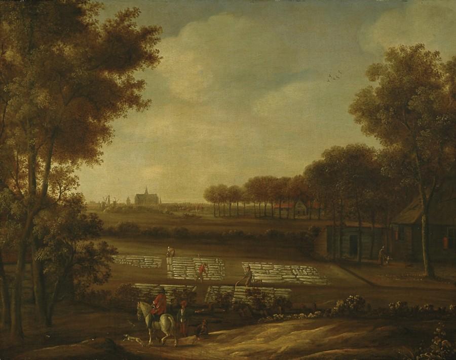1 Anoniem, Hollands - Blekerij aan de duinrand met Haarlem in de verte