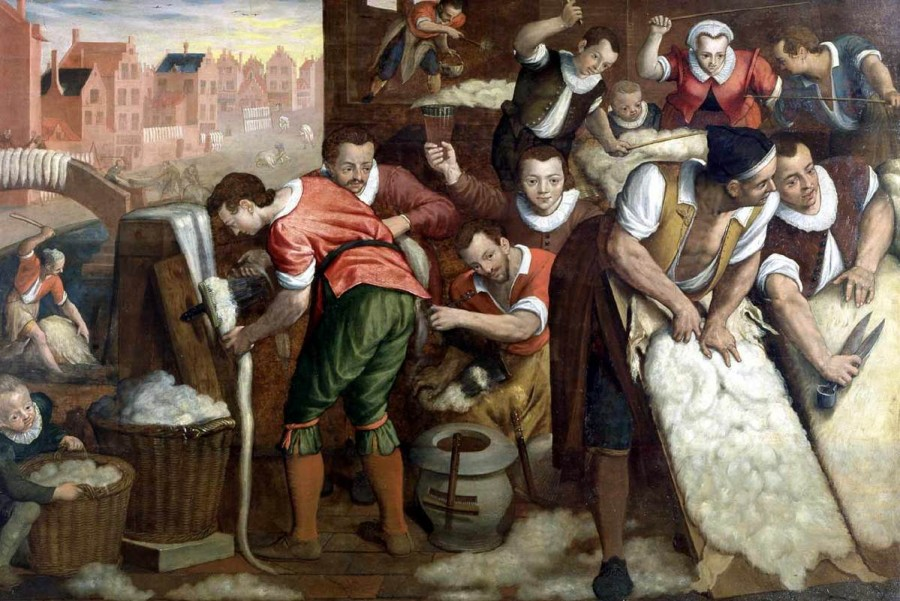 1 Isaac_Claesz._van_Swanenburg_-_The_Removal_of_the_Wool_from_the_Skins_and_the_Combing_-_WGA21986