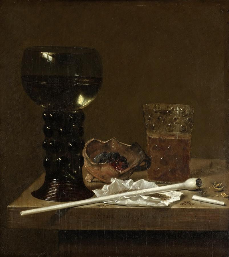 0 Ян Янс ван де Вельде Натюрморт с рёмером, стаканом и трубкой (1651)рр (Амстердам, Гос.музей)