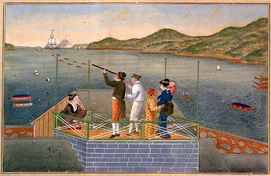 3 Dutch_trader_watching_an_incoming_VOC_ship_at_Dejima_by_Kawahara_Keiga