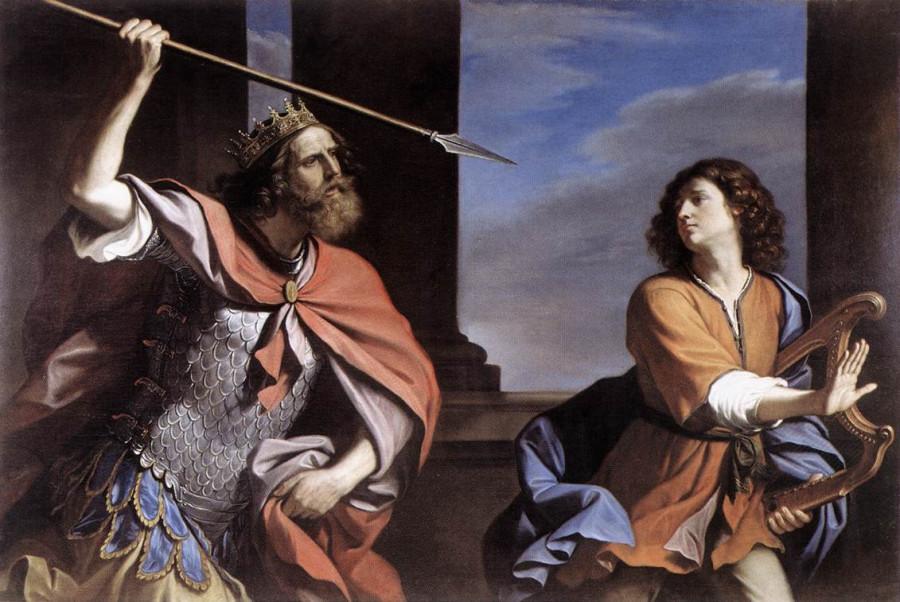 11aГверчино Саул мечет копье в Давида
