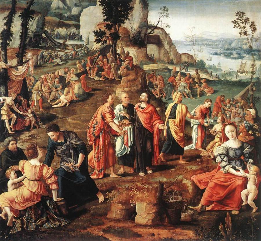 zЛамберт Ломбард 16 век feeding-five-thousand-lambert-lombard
