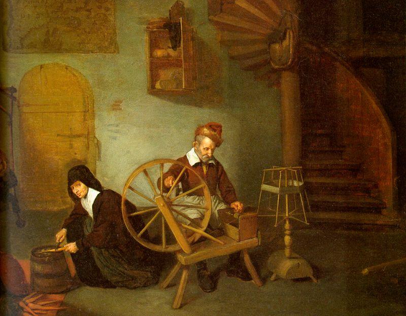 20 Кверинх Гереттс ван Брекеленкам Man spinning and Woman scrubbing carrots