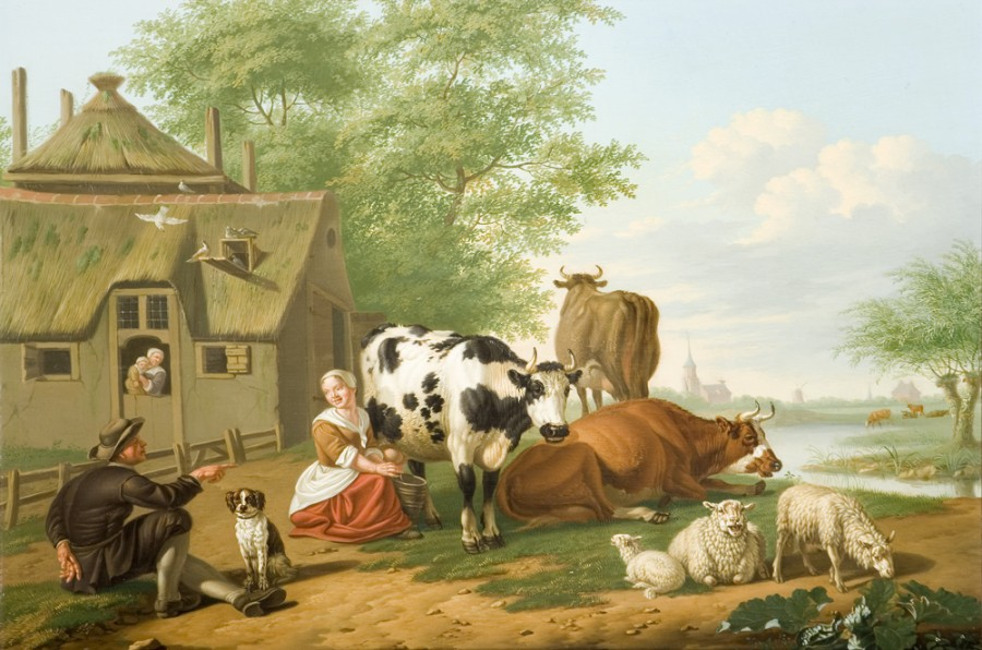 23 Ян ван Гул Cattle in Meadow by Jan Van Gool, Oil on Panel