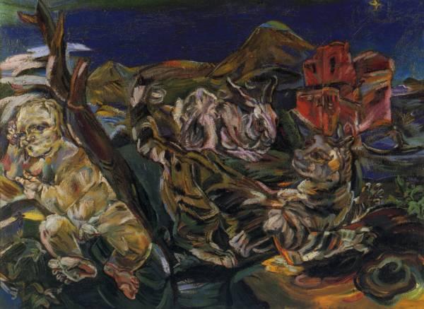 Оскар Кокошка натюрморт с Амуром и кроликом
