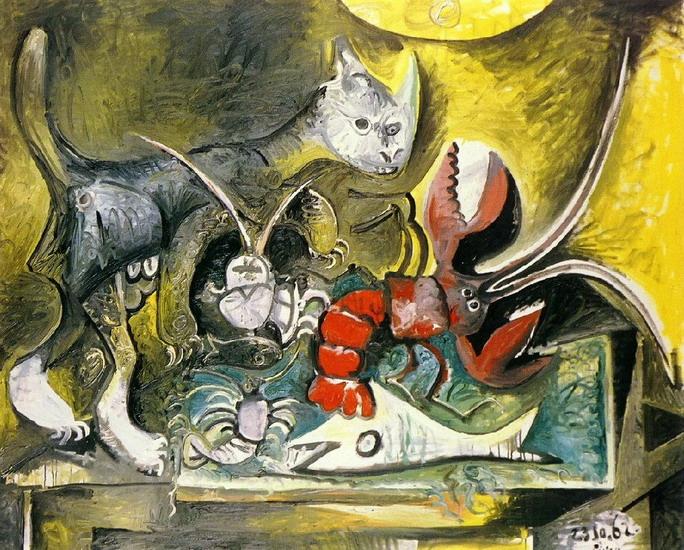 Пикассо Натюрморт кот и омар