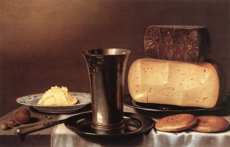 1б 1024px-Floris_Gerritsz._van_Schooten_-_Still-Life_with_Glass,_Cheese,_Butter_and_Cake_-_WGA21047