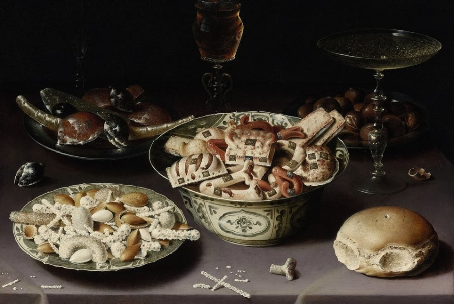 28 Osias_Beert_the_Elder,_Three_Dishes_of_Sweetmeats_and_Chestnuts_with_Three_Glasses_on_a_Table._Oil_on_copper